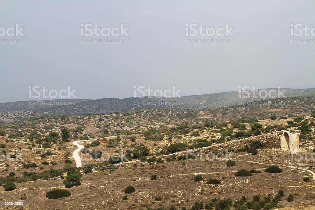 Valley in Israel in the summer. stock photo