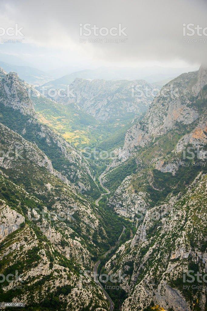 Valley in Picos de Europa stock photo
