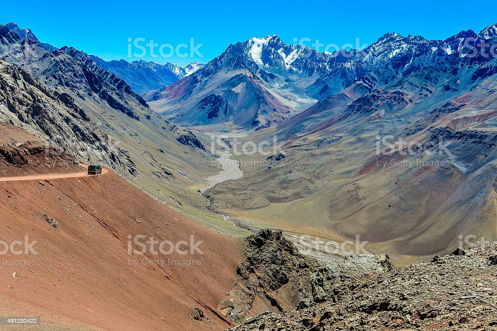 Valley in the Andes around Mendoza, Argentina stock photo