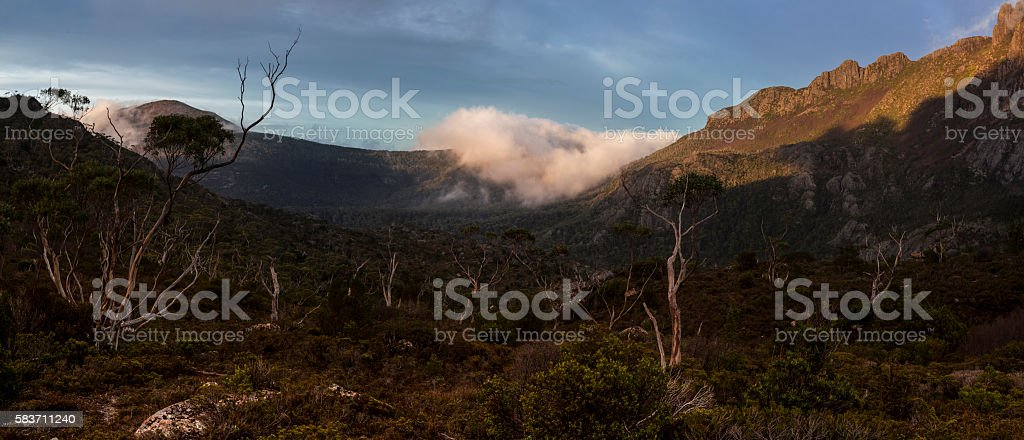 Valley in the morning. stock photo