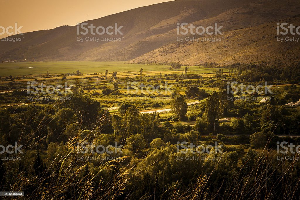 Valley in the summer haze royalty-free stock photo