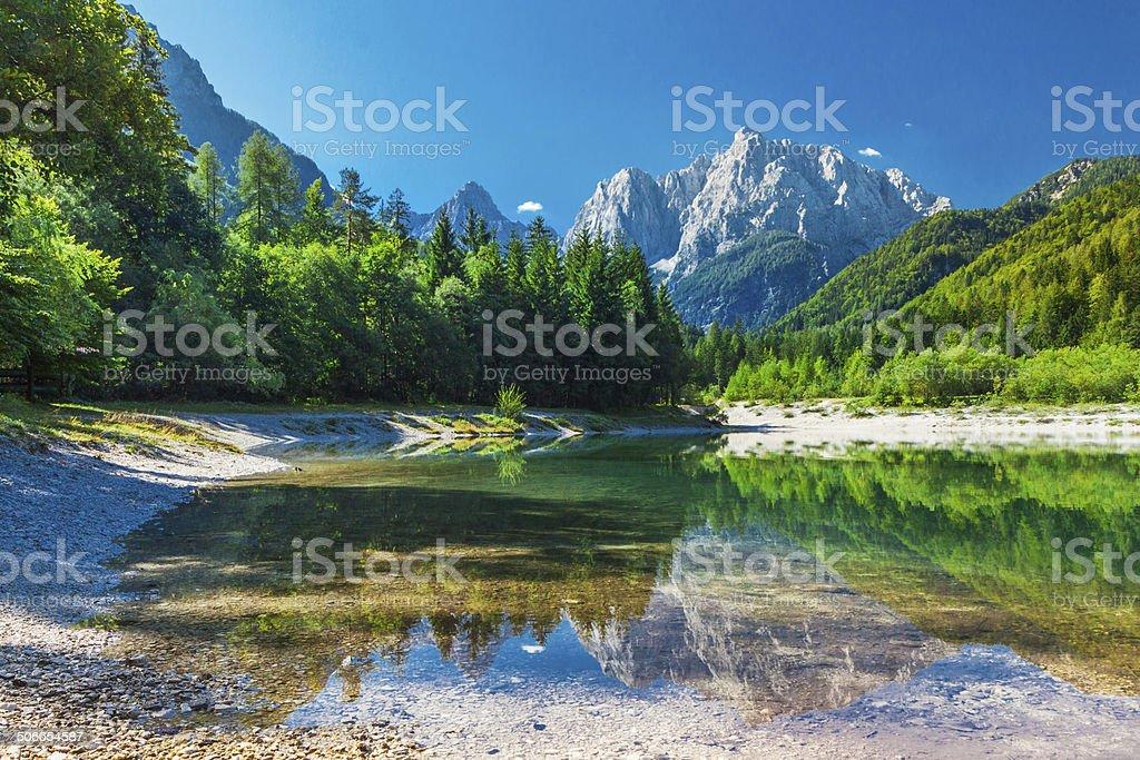 Valley in the Triglav National Park, Julian Alps, Slovenia stock photo