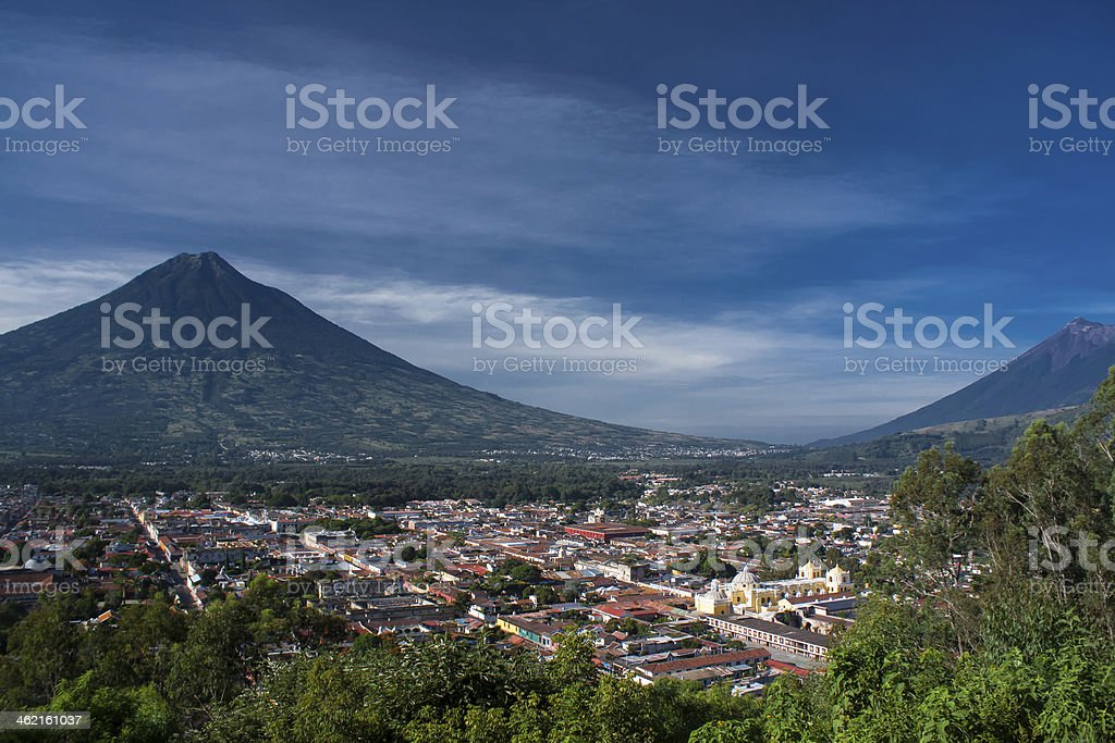 Valley of Antigua Guatemala and two volcanos stock photo