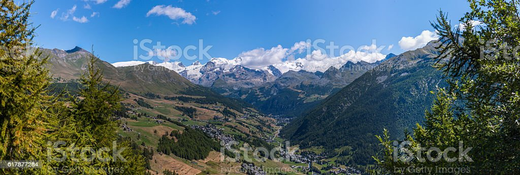 Valley of Ayas with villages and massif of Monte Rosa stock photo