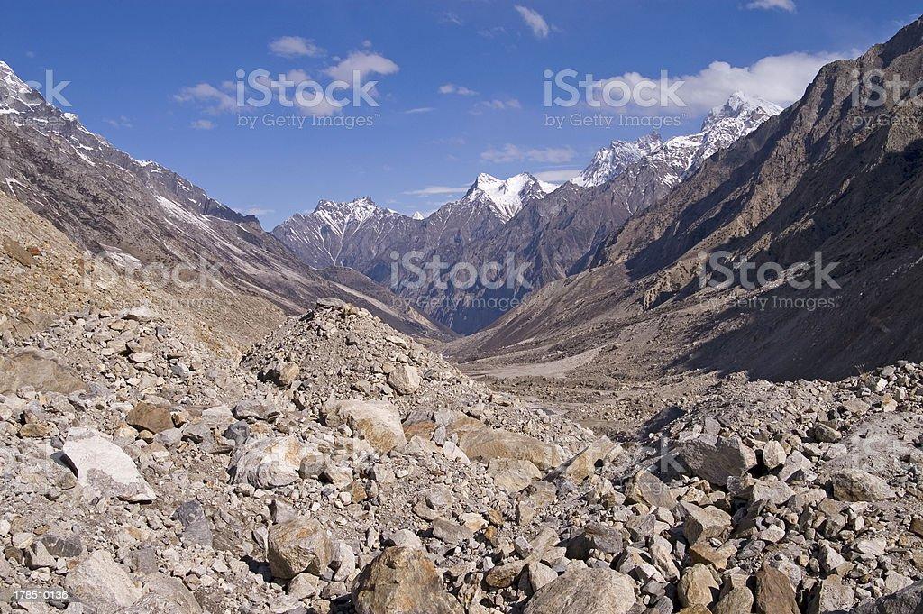 Valley of Bhagirathi (Ganga) river stock photo