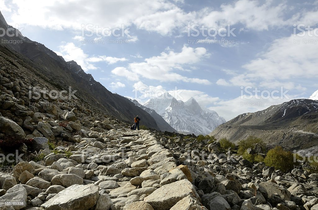 Valley of Bhagirathi, view to Gomukh stock photo