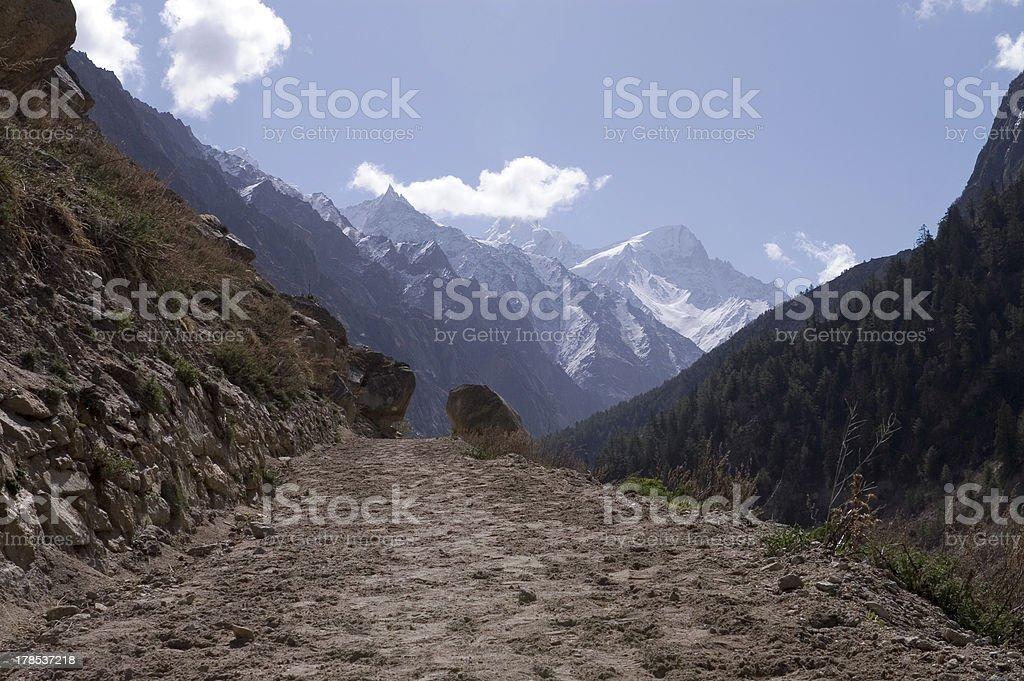 Valley of Bhagirathi, view to Gomukh royalty-free stock photo