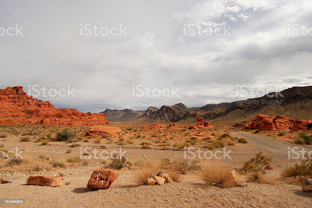 Valley of Fire, Nevada. Red Rocks Landscape. Cloudy Sky. royalty-free stock photo