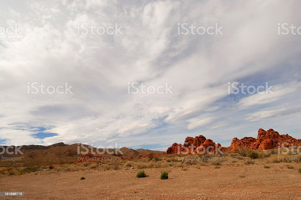 Valley of Fire, Nevada. Red Rocks Scenery. Cloudy Sky. royalty-free stock photo