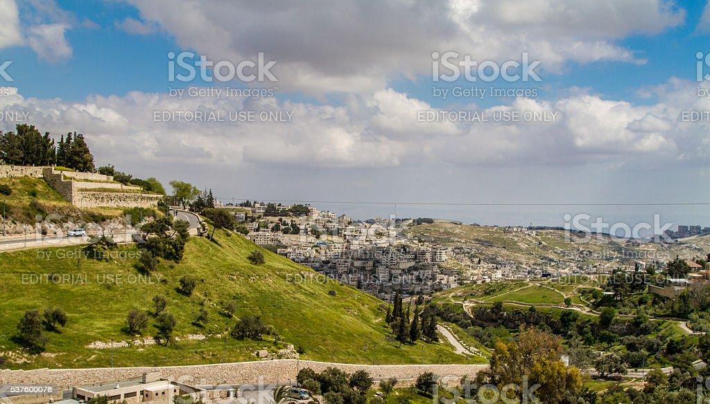 Valley of Hinnom and Silwan neighborhood in Jerusalem stock photo