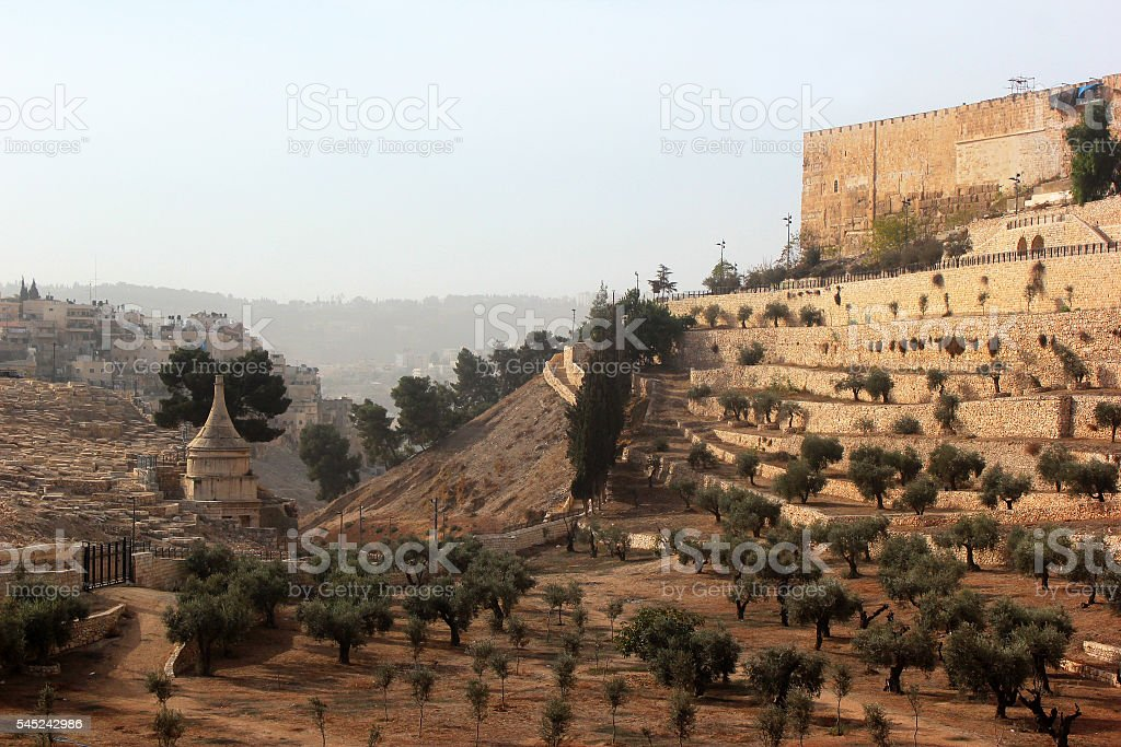 Valley of Kidron and Old City of Jerusalem stock photo