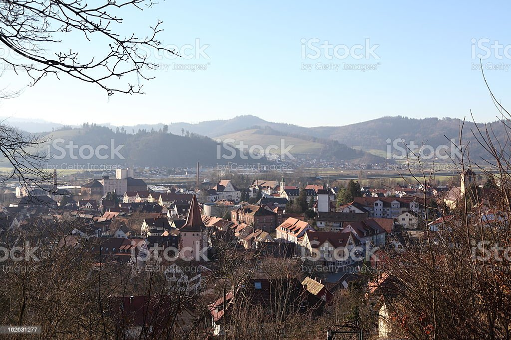 valley of Kinzig with small city Gengenbach in Black Forest stock photo
