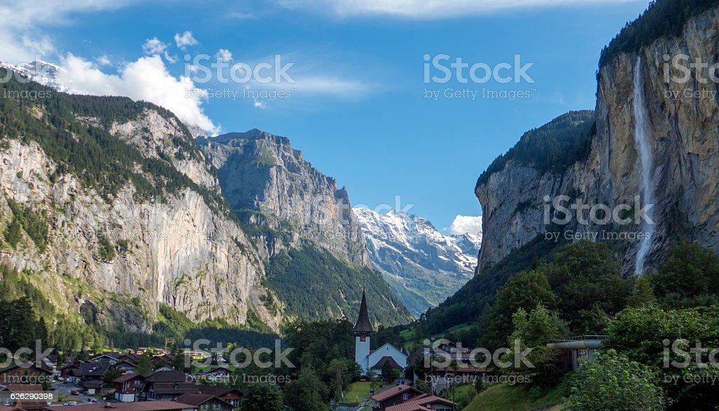 valley of lauterbrunnen, switzerland stock photo