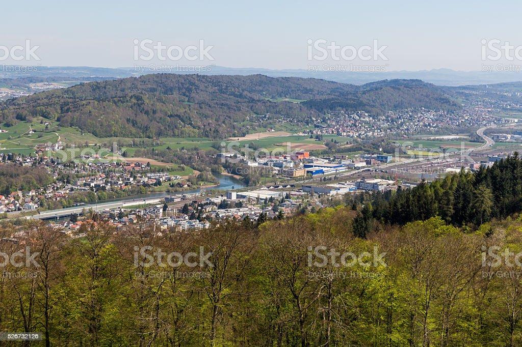 Valley of Limmat overlook stock photo
