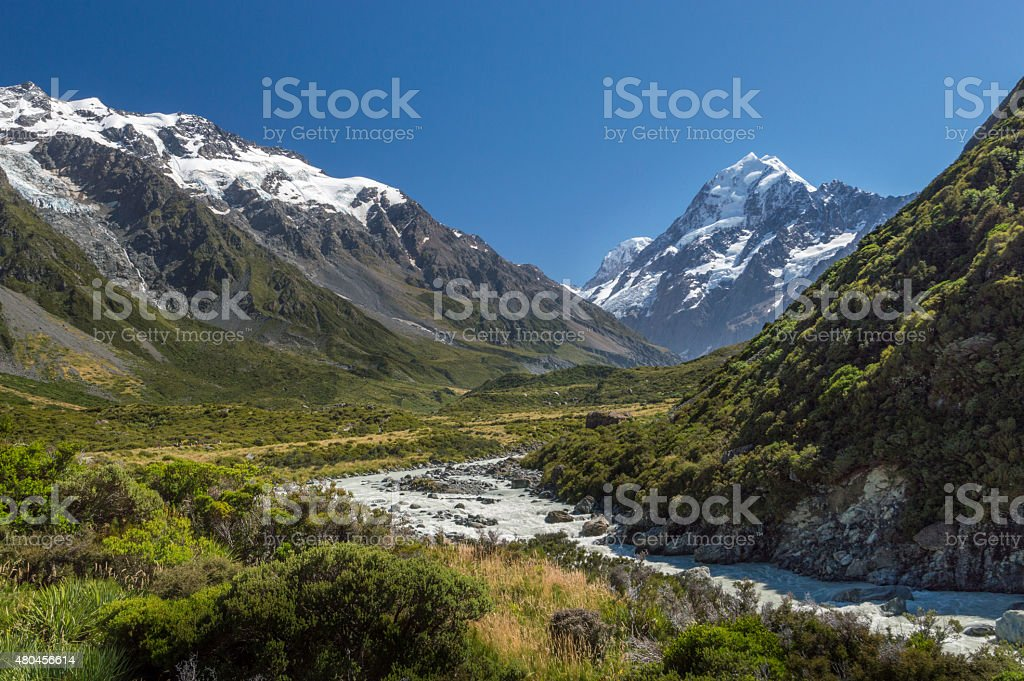 Valley of Mount Cook / Aoraki, New Zealand stock photo
