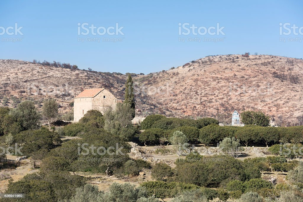 Valley of Olympi on Chios after forest fire July 2016 stock photo