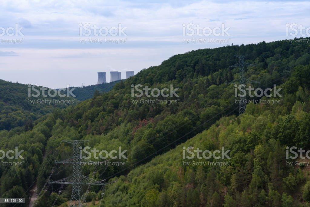 Valley of river Jihlava, nuclear power plant Dukovany stock photo