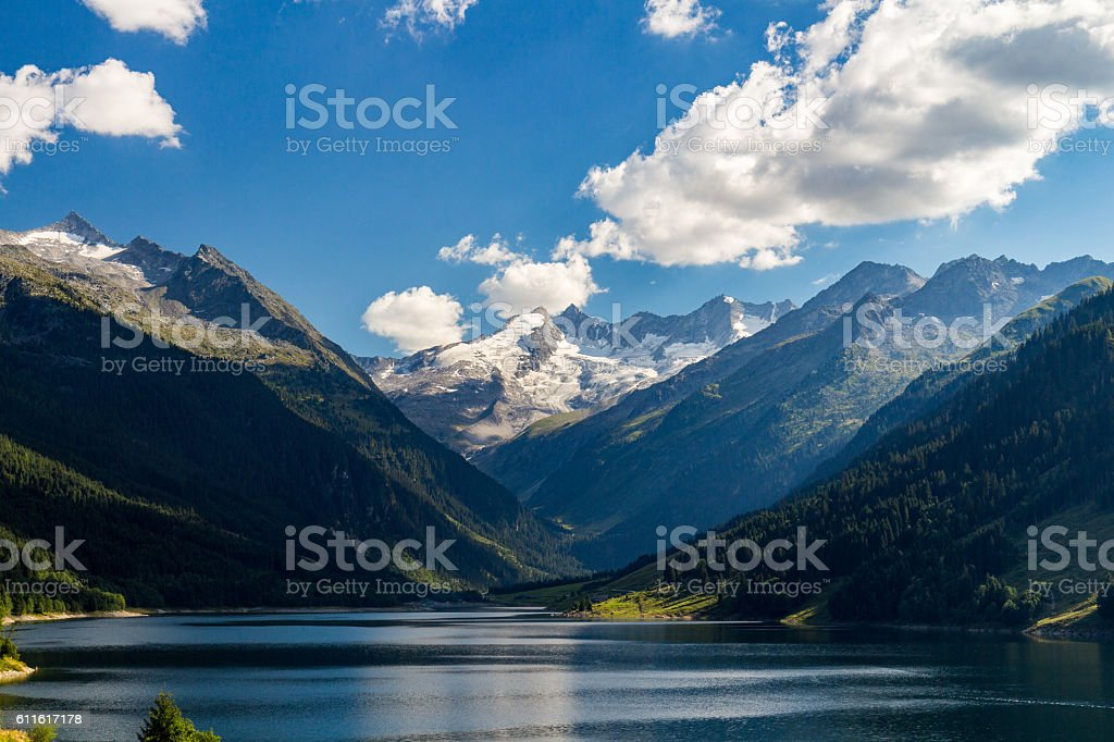 Valley of Speicher Durlassboden lake in the Austrian Alps. stock photo