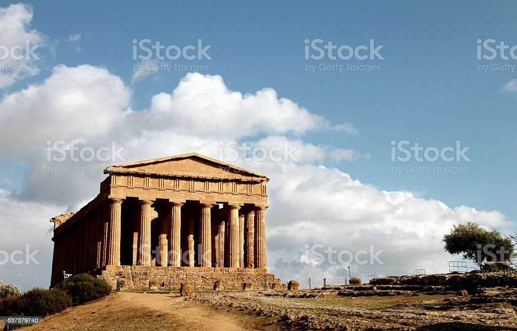Valley of temples Agrigento Sicily Temple of Concord stock photo