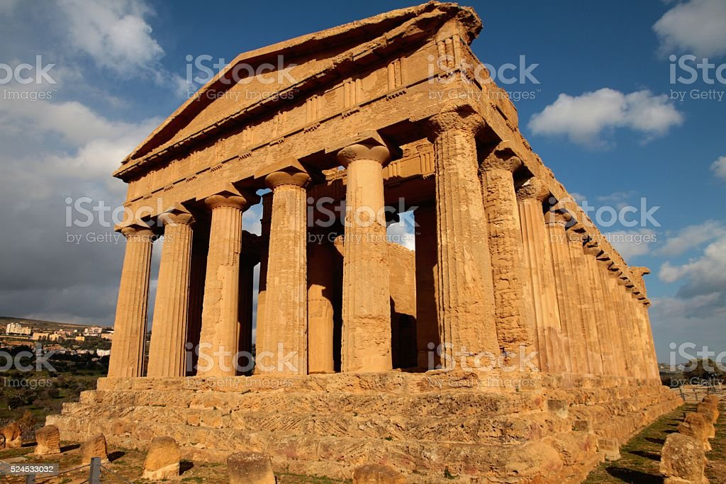 Valley of Temples - Temple of Concord Sicily stock photo