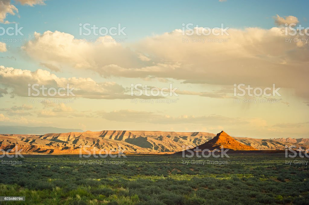 Valley of the Gods in Utah at Sunset stock photo