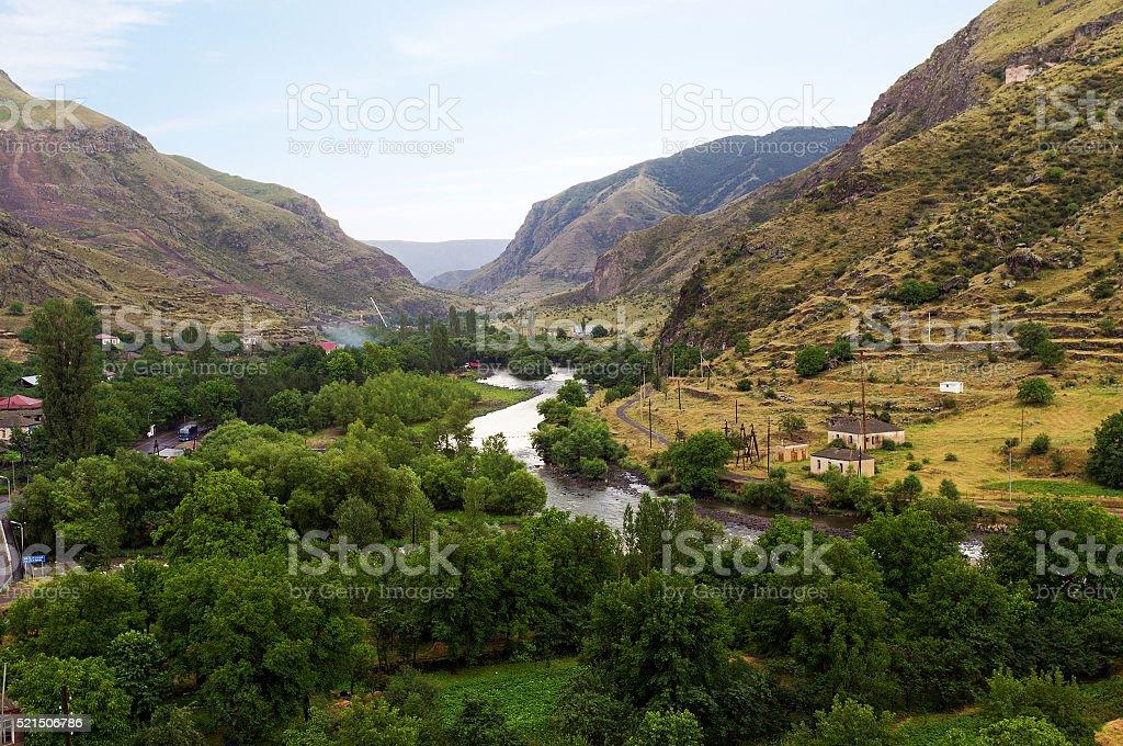 Valley of the mountain river Mtkvari (Kura) stock photo