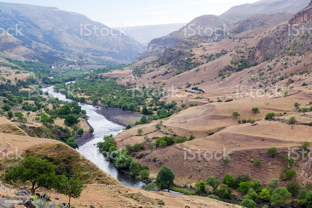 Valley of the mountain river stock photo