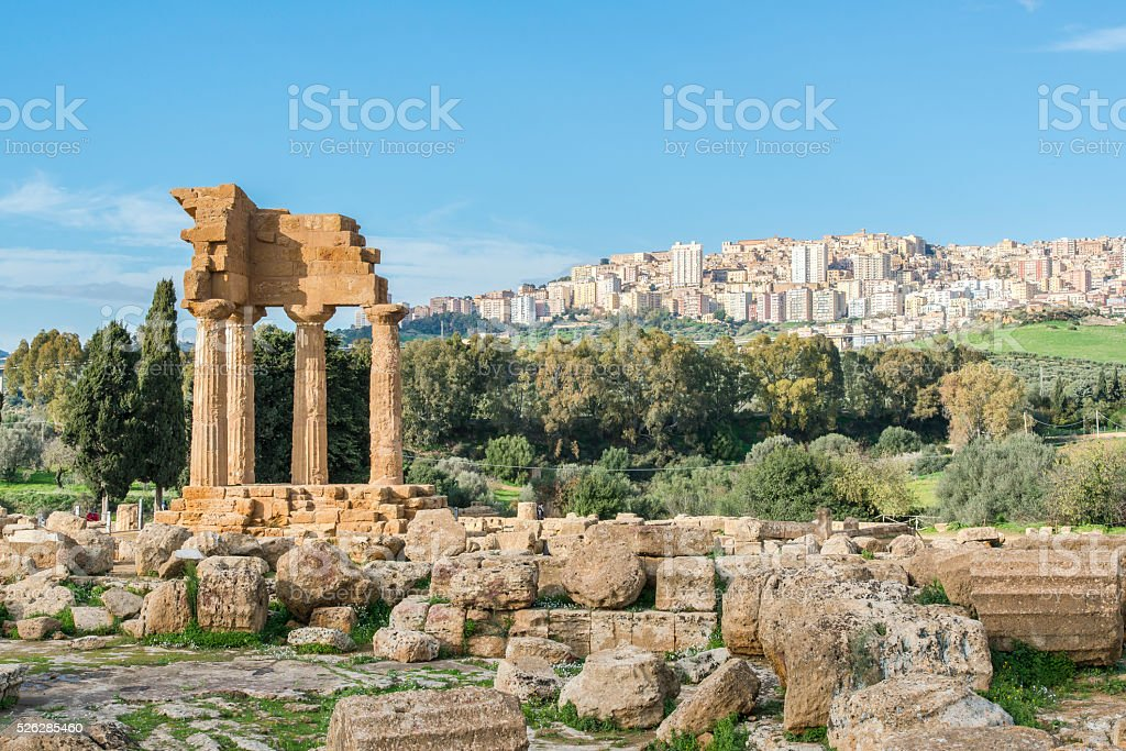 Valley of the Temples. Archaeological Area of Agrigento. Sicily. stock photo