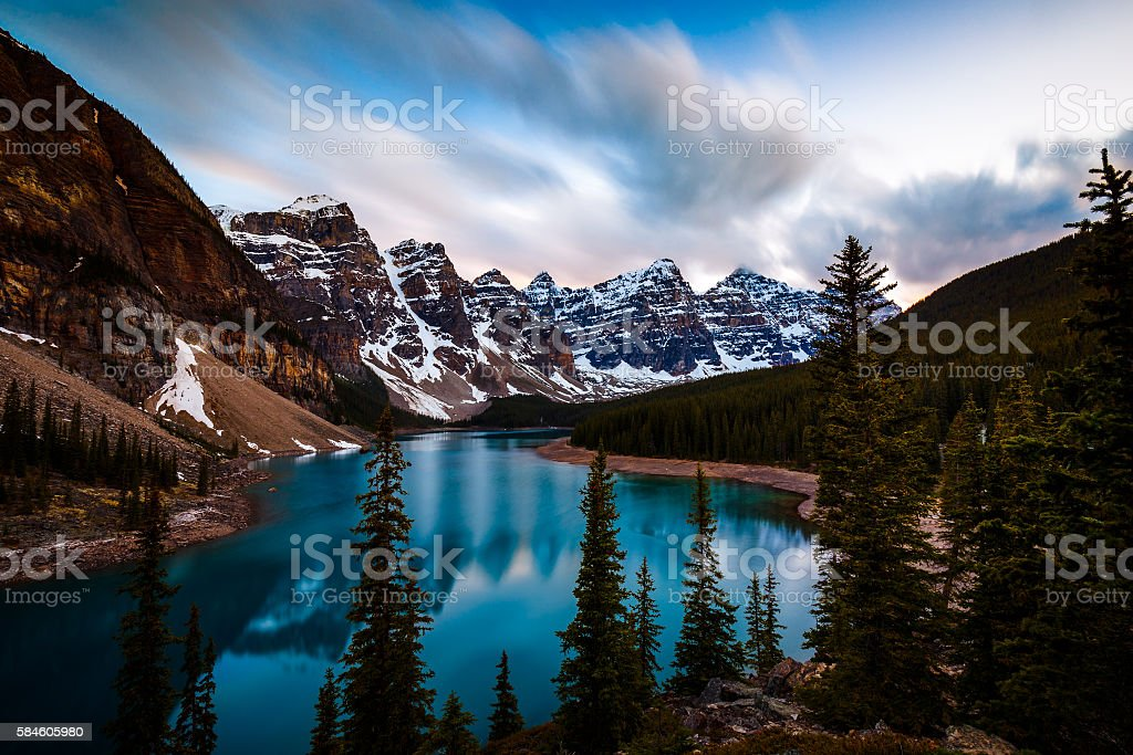 Valley of the Ten Peaks and Moraine Lake, Banff National stock photo