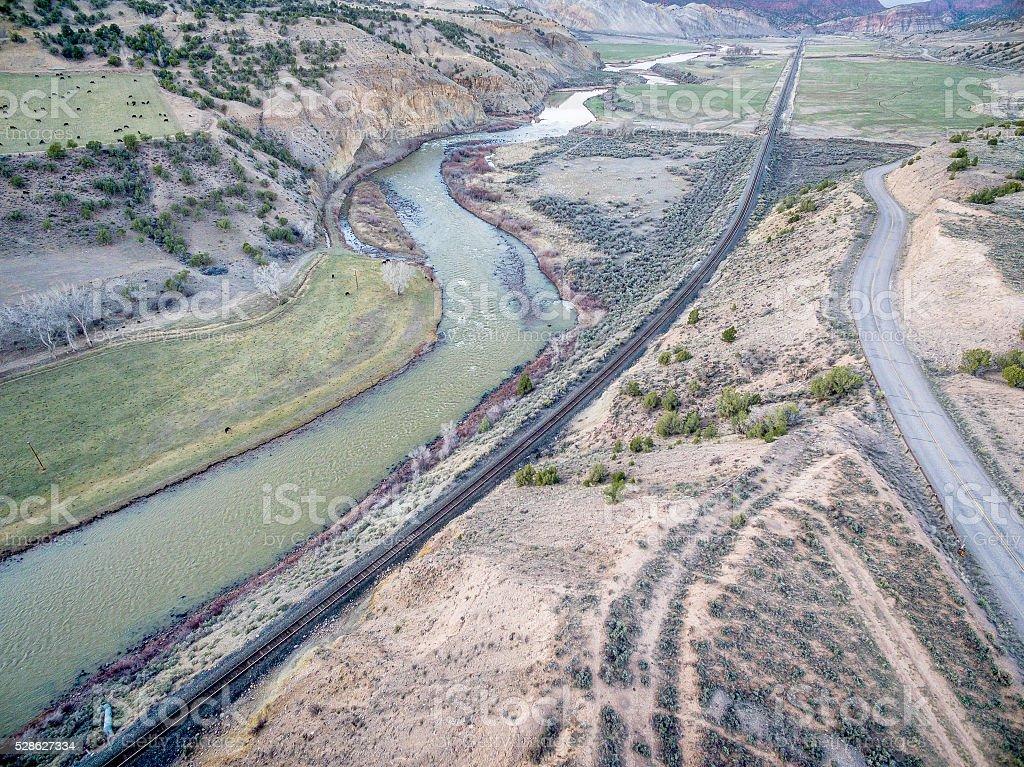 valley of upper Colorado RIver stock photo
