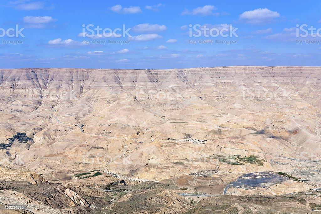 valley of Wadi Al Mujib river and dam, Jordan royalty-free stock photo