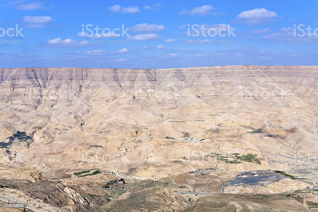 valley of Wadi Al Mujib river and dam, Jordan stock photo