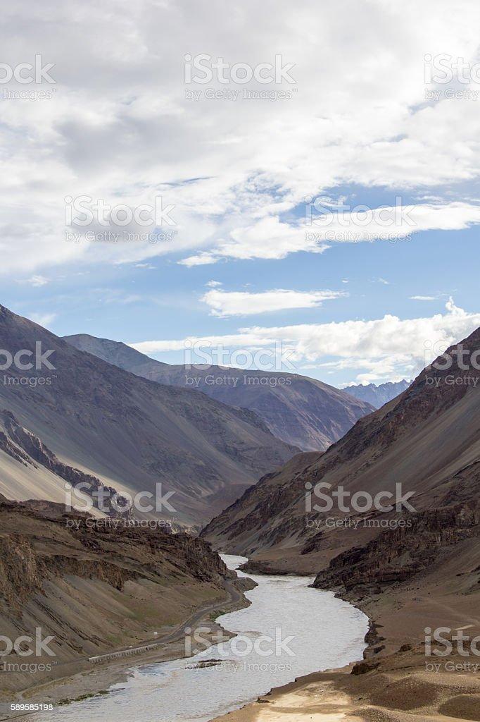 Valley of Zanskar and Indus rivers confluence, Ladakh, Jammu-Kashmir, India. stock photo