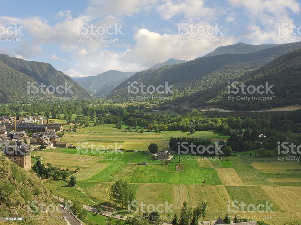 Valley placed on Pyrinees, in town Valencia d'Aneu, general view stock photo