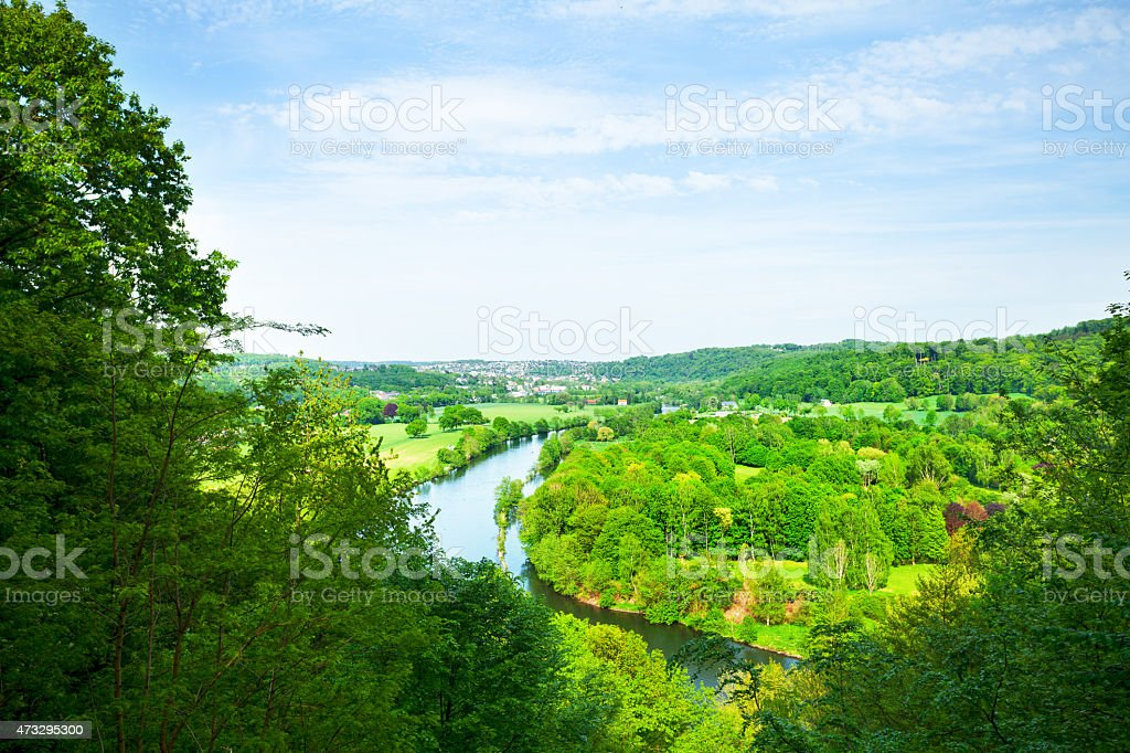Valley Ruhr between Essen Kettwig and Werden in spring stock photo