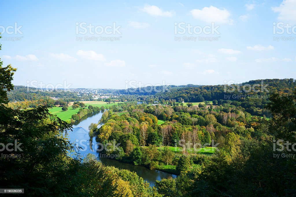 Valley Ruhr in south of Essen stock photo