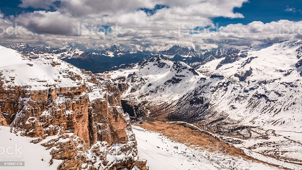 Valley seen from the top of Sass Pordoi, Dolomites stock photo