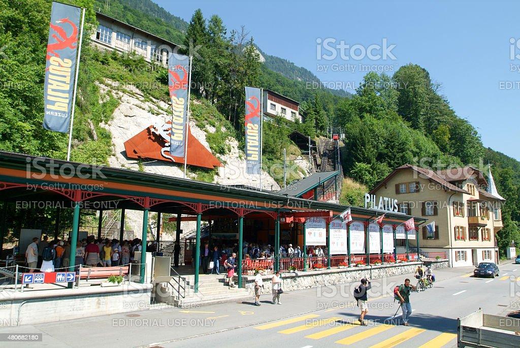 Valley station of the Pilatusbahn in Alpnachstad stock photo