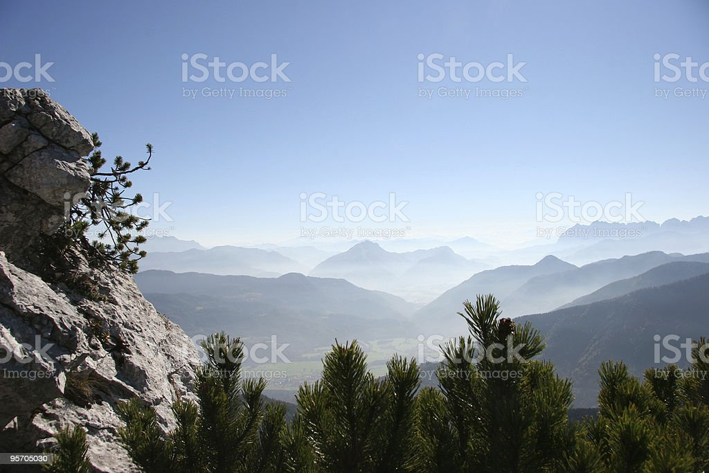 valley view with blue sky stock photo