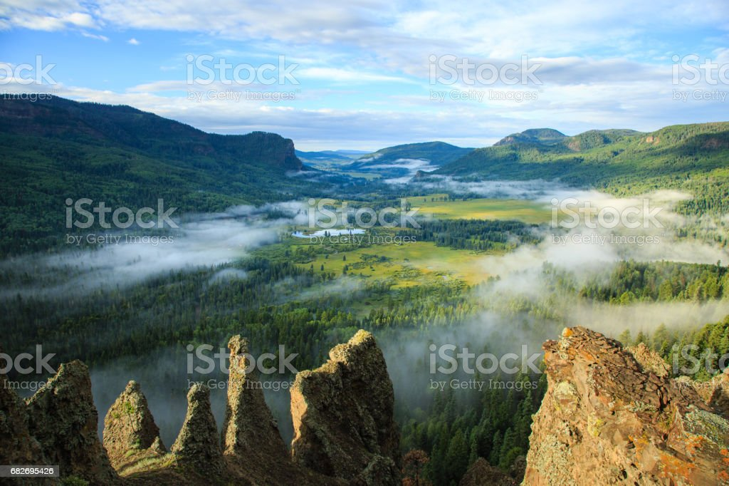 Valley View with Fog stock photo