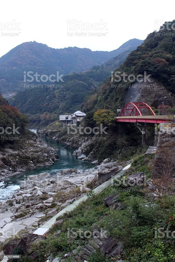 valley with bridge in Japanese country side stock photo