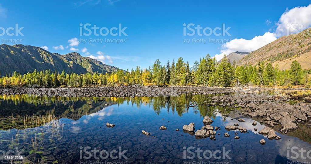 Valley Zhombolok river in autumn finery stock photo