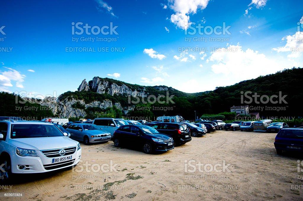 Vallon Pont D'arc cliffs stock photo