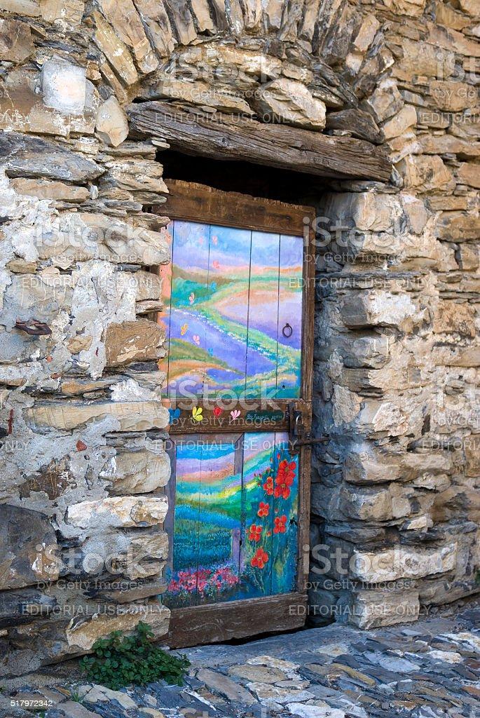 Valloria, the village of painted doors stock photo
