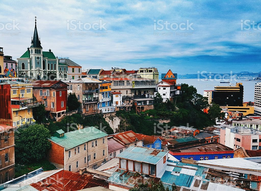 Valparaiso houses stock photo