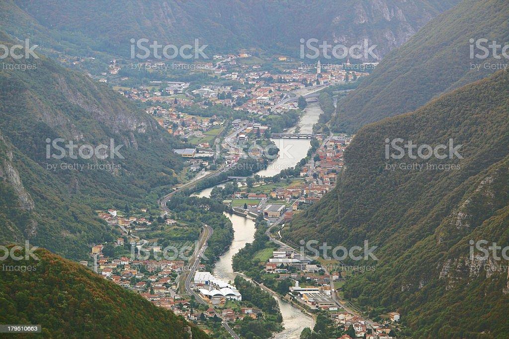 Valsugana view from Foza, location Pubel stock photo