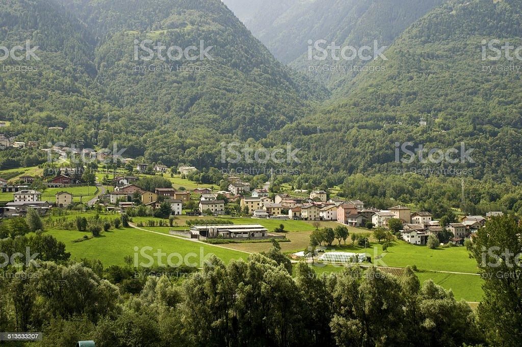 Valtellina landscape Valtellina valley stock photo