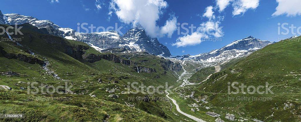 Valtournenche panorama, Aosta Valley - Italy stock photo