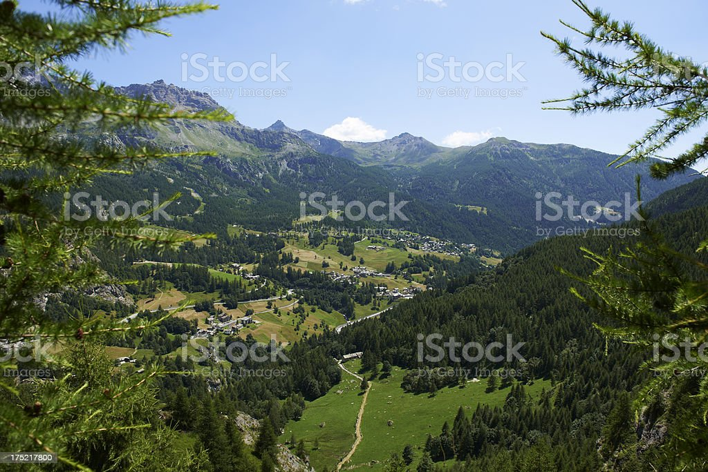 Valtournenche Town stock photo