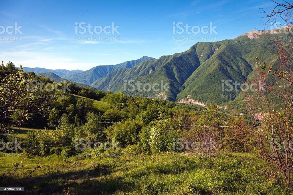 Valtrebbia valley, toward the Liguria. Color image stock photo